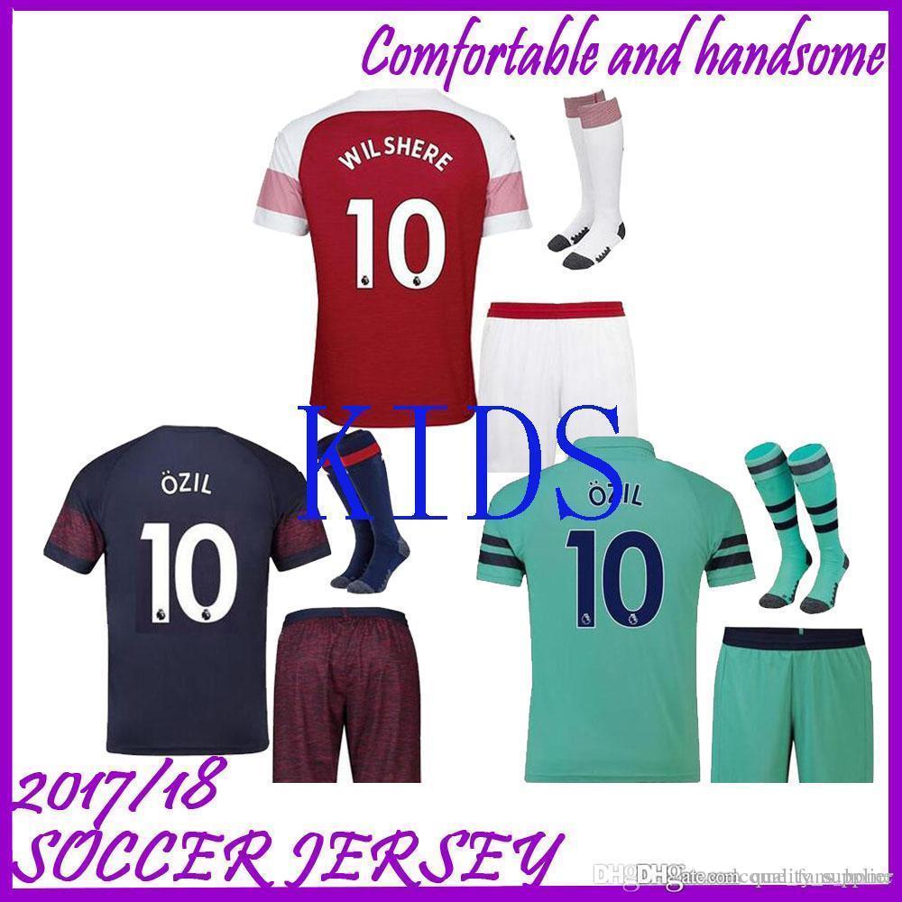 ca28ac52317 10 OZIL Arsenal Soccer Jersey Kids Kit 2018 19 Home Red Soccer ...