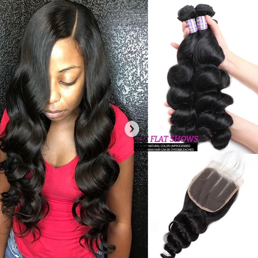 Yaki Straight Malaysian Virgin Human Hair Bundles With Closure Wet and Wevy Water Wave Peruvian Hair Deep Loose Indian Hair Extensions Body