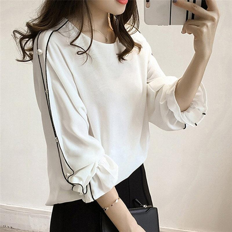 f493204e6cc 2019 2019 Autumn Chiffon Blouses Shirt Plus Size M 4XL Korean Women Tops  Blusa Beading Long Flare Sleeve Casual Ladies Blouse Shirts From  Jincaile08