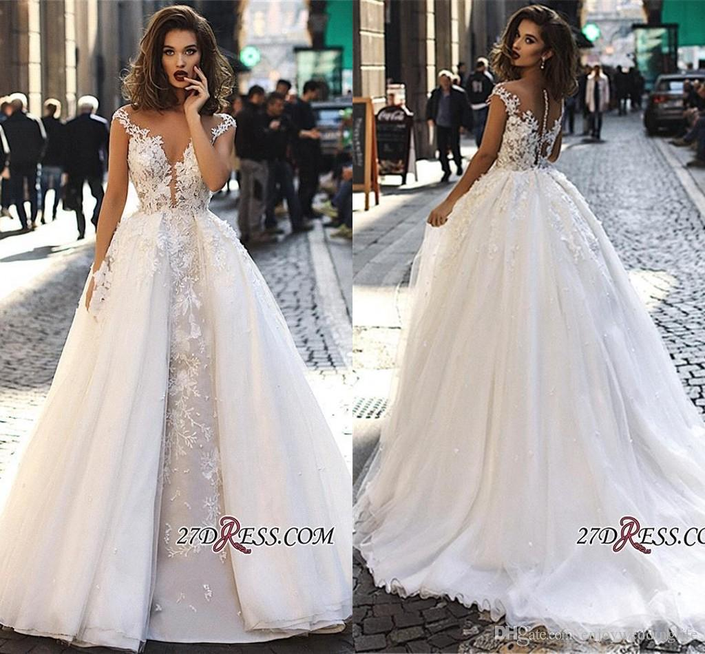 The Knot Wedding Gowns: Discount 2019 Elegant Cap Sleeves Lace Wedding Dresses A