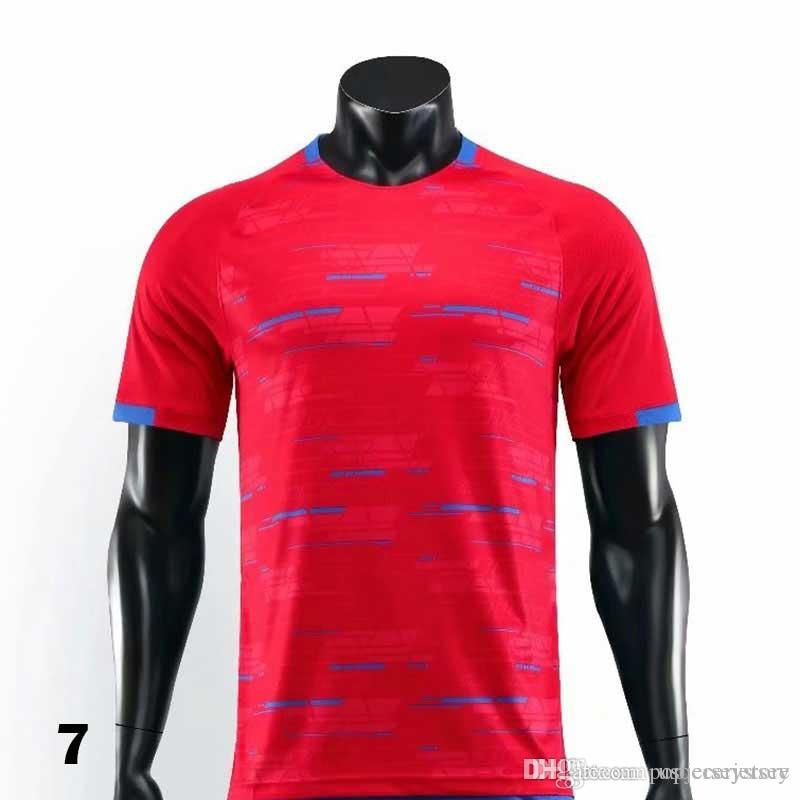 0007 2019 2021 T-shirt rouge Maillots de football Football Camiseta Hommes Enfants 20 21 Kit Uniformes Maillot
