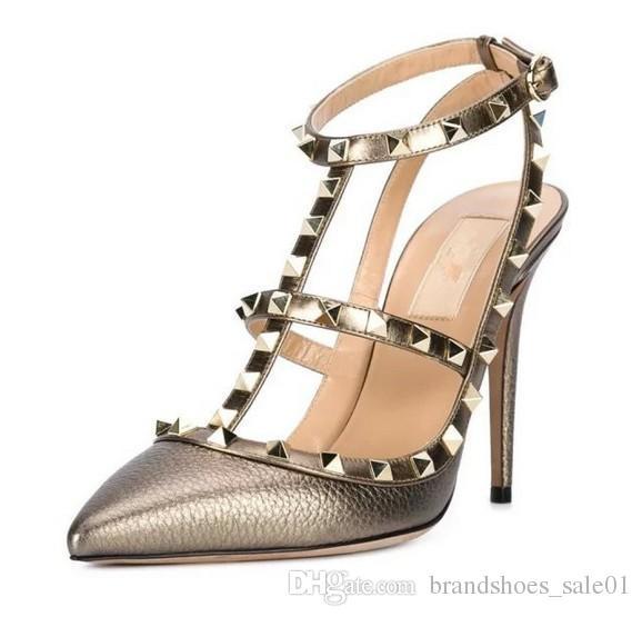 a0c50878cad Wedding Shoes 34 41 Genuine Leather Gold Rivets Pointy Flats Heels V Pumps  7.5 10cm Luxury Designer Metallic Shoes Bridal Shoes Brisbane Bridal Wedge  Heels ...