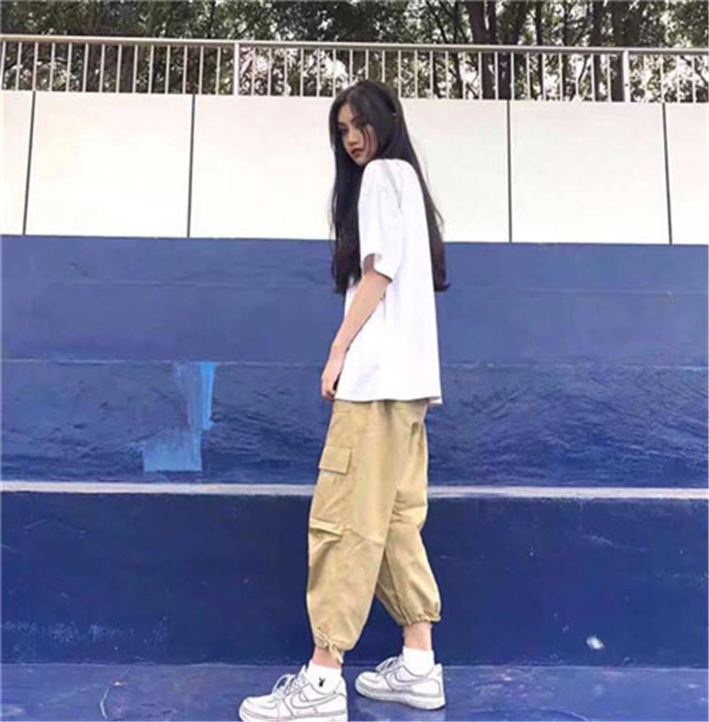 2019 Fashion Brand Designer Streetwear Hip-hop Women's Cargo Pants Spring Autumn Luxury Casual Cargo Pants.B100753Y