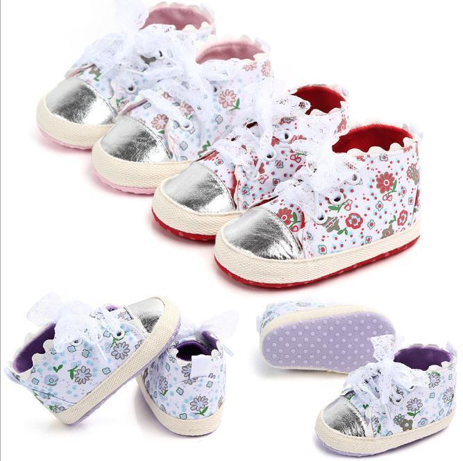 Infant Nouveau né Bébé Garçon Fille Semelle Souple Toile Poussette Chaussures Baskets Imprimé Floral Premiers Marcheurs 0 18 Mois
