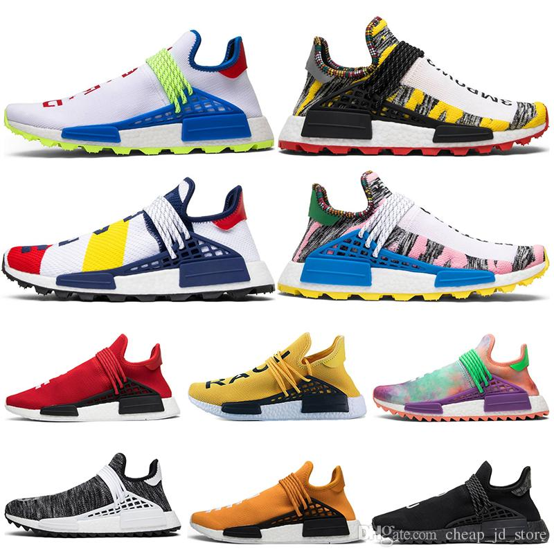 huge selection of a071c 3575d Großhandel Nmd Shoes 2019 Human Race Hu Trail Pharrell Männer Laufschuhe  Gelb Rot Weiß Nerd Schwarz Creme Holi Herren Turnschuhe Frauen Sport  Turnschuhe ...