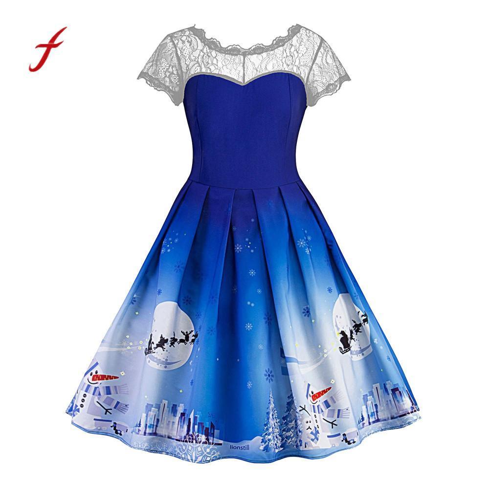a26da7acb5980 Satın Al Feitong Noel Kadin Elbiseler Kısa Kollu Dantel Patchwork ...