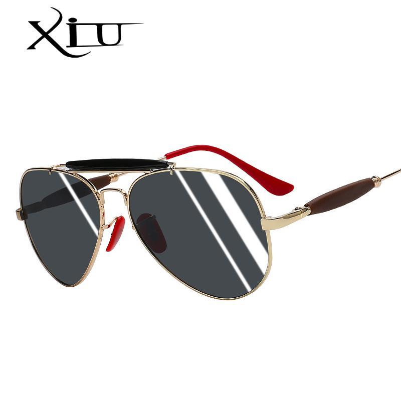 6c9cbe0a8 Compre XIU 2019 Nova Moda Polarizada Marca De Design Mulheres Do Vintage  Feminino Óculos De Armação Piloto Óculos De Sol Dos Homens Das Senhoras  Óculos De ...