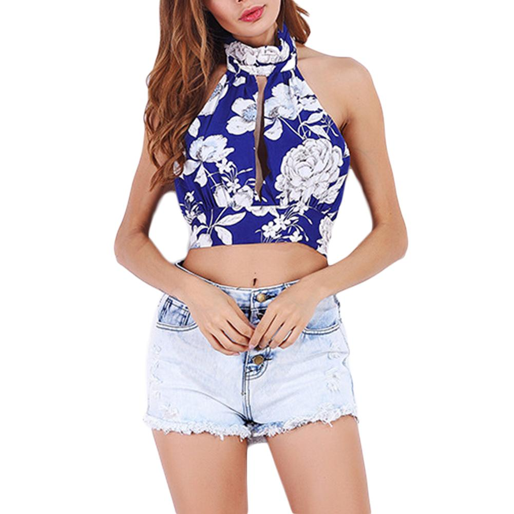 a2826b2a33b15 2019 NEW Women Summer Chic Printed Halter Crop Tops Floral Hollow Out  Beachwear Sexy Backless Bandage Tank Tops Female Clothing From Vangoha