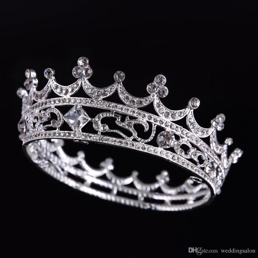 Luxury Crystals Wedding Crowns Round Bridal Tiaras Diamond Jewelry Rhinestone Headpieces Cheap Hair Accessories Two Colors Tiara