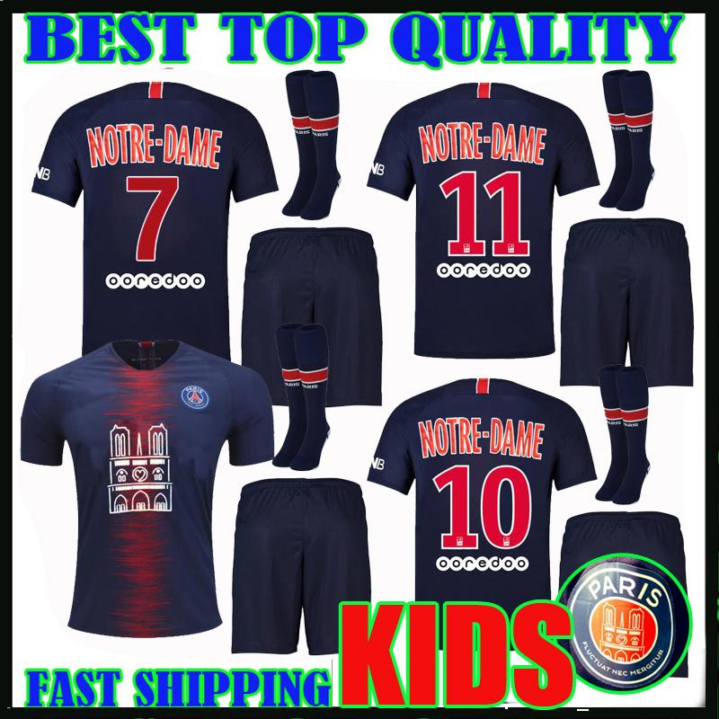 0a7d429d2 2019 Kids Kit 18 19 Psg Notre Dame Soccer Jerseys Home Mbappe Maillot De  Foot 2018 2019 Paris Sg CAVANI Patch Camisetas Child Football Shirts From  ...