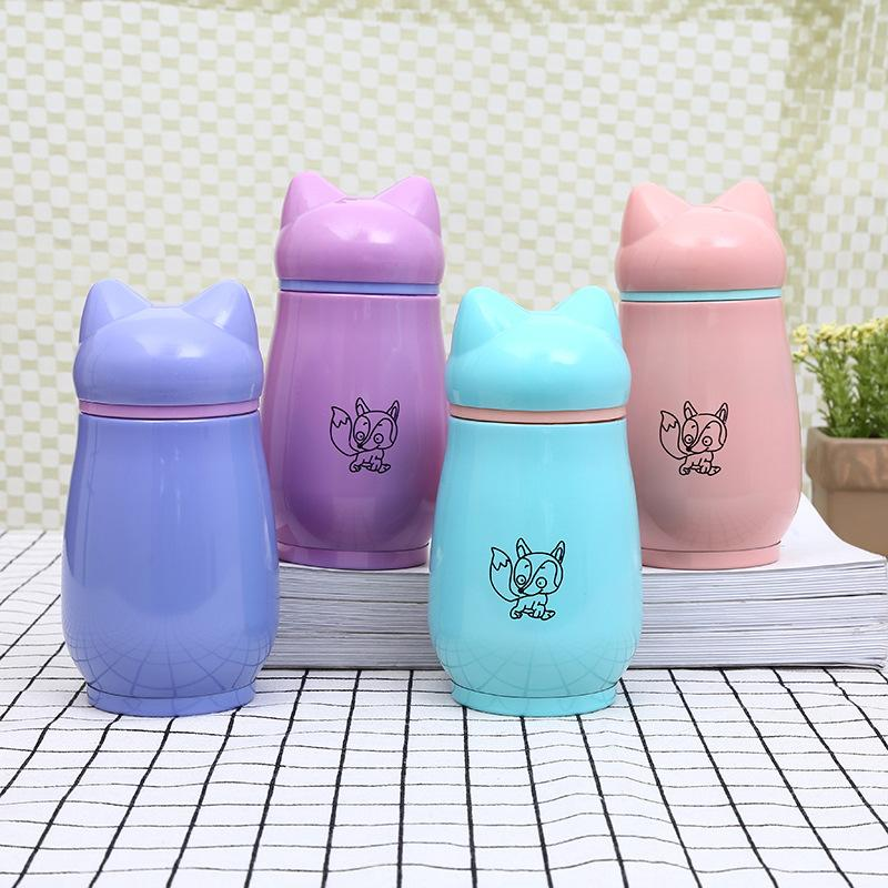 4styles 300ml Stainless Steel fox Water Cups Delicate Cartoon Fox Mugs Kids Vacuum Flasks Water Bottles Thermos flask Customizable FFA2600
