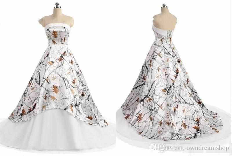 White Camo Wedding Dress Cheap 2019 New Strapless Simple Designer A line Zipper Back Court Train Bridal Gown New