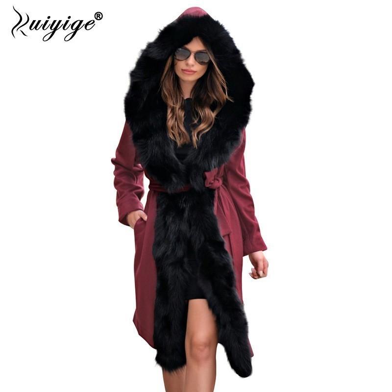 db40f6b8a4 Ruiyige 2018 Nuove donne inverno addensare felpe con cappuccio lungo  cappotti donna plus size giacca donna Parka collo di pelliccia Chaqueta  Mujer ...