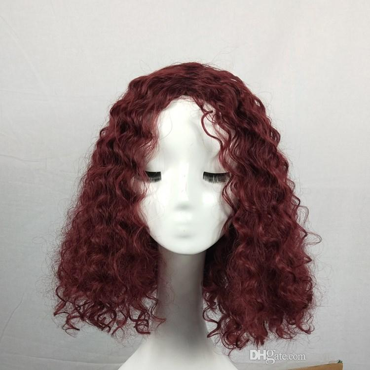 Short Synthetic Wigs Fashion Burgundy Color Kinky Curly Hair 613 Blonde Hair High Temperature Fiber Hair No Lace Front Wig Heat Resistant