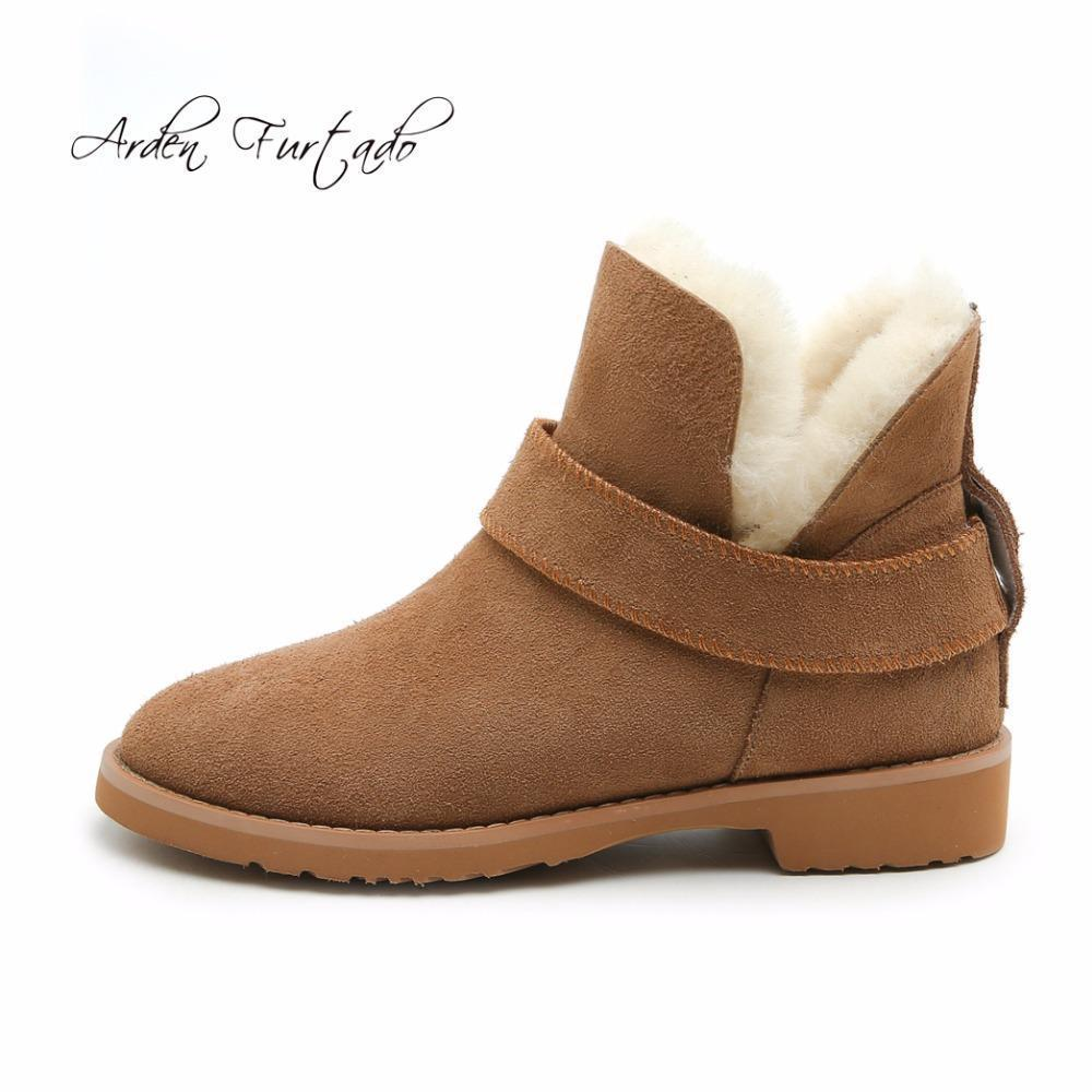 55d492d451c Arden Furtado Size 25-50 Fashion Women Boots Plush Warm Snow Boots Lady  Winter Ankle Boots Waterproof Slip On Short Flat Boot