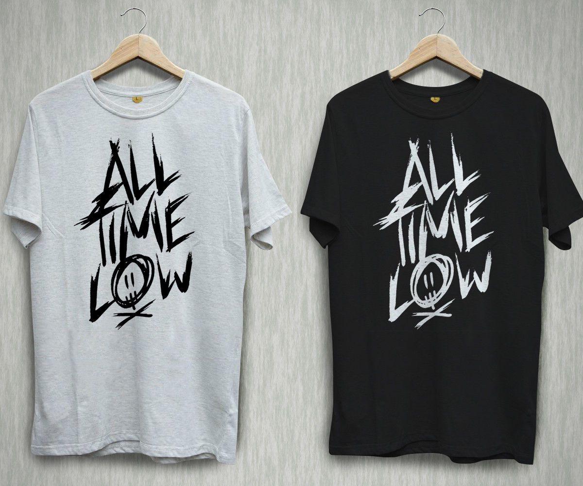 fb8915a1631 ALL TIME LOW Logo Pop Punk Rock Band Black White T Shirt Shirts Tee ...