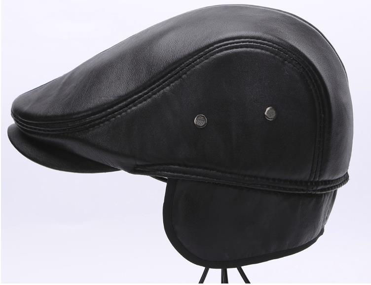 6a3f1deff Spring Men s Casual Real Genuine Leather Sheepskin Beret Hat High Quality  Leather Peaked Cap Winter Warm Men ears ear flap hats