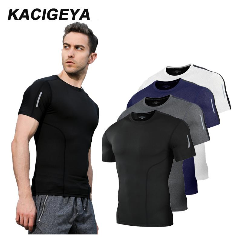 2c8163318c Compression Shirt Men Short Running Quick Dry Tee Basketball Soccer ...