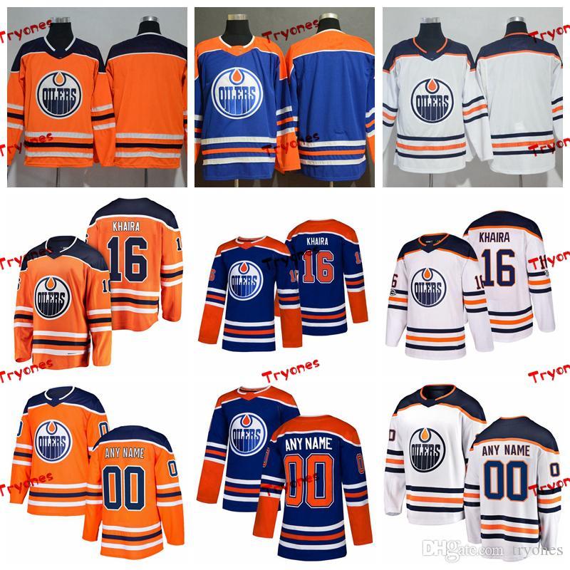 935f6e351 Compre 2019 Personalice Jujhar Khaira Edmonton Oilers Jerseys Cosidos  Camisas Azules Alternativas   16 Jujhar Khaira Camisetas De Hockey S XXXL A   36.65 Del ...