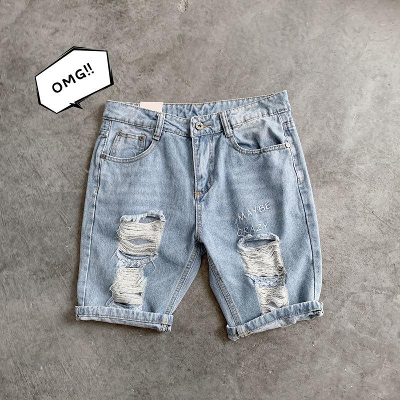Summer New Short Jeans Men Washed Fashion Straight Casual Denim Shorts Man Streetwear Trend Wild Hip Hop Loose Shorts Male