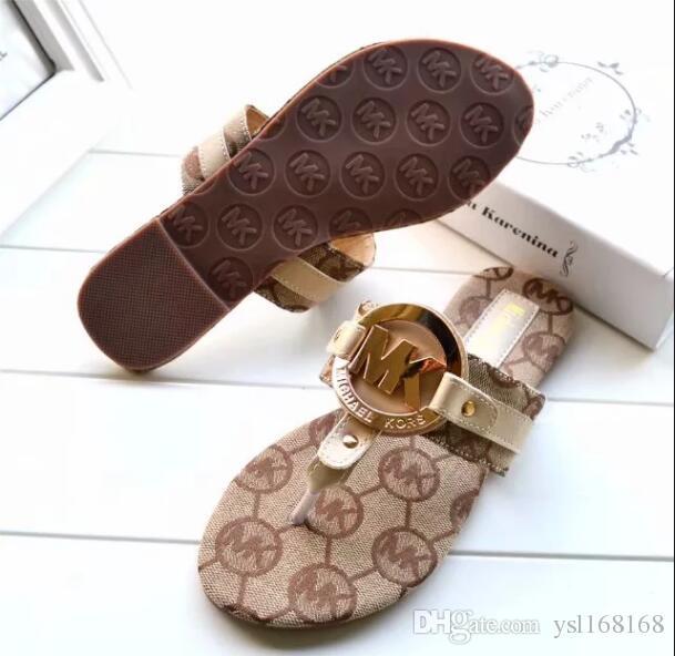 7354dea8e353 2019MKBrand Women Sandals Big Size 35 42 Designer Shoes Luxury Slide Summer  Fashion Wide Flat Slippery With Thick Sandals Slipper Flip Flops Ladies  Footwear ...