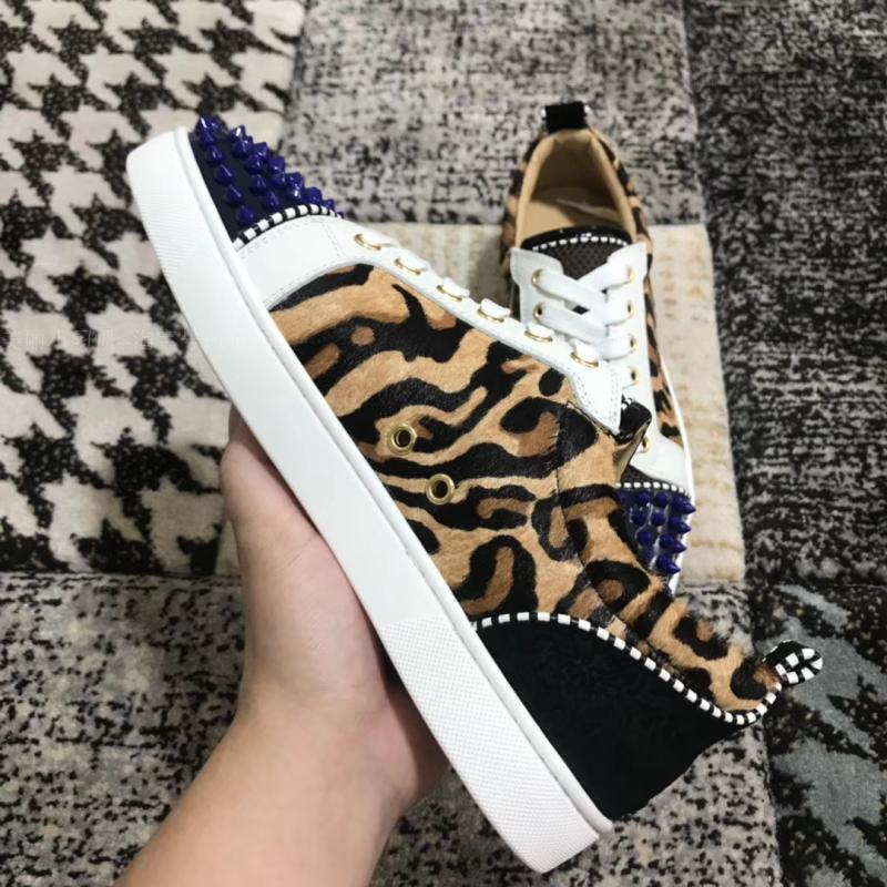 50dad271f256 Low-Cut Yellow Lace-Up Leopard Print Horse Hair Rivets Front Red ...