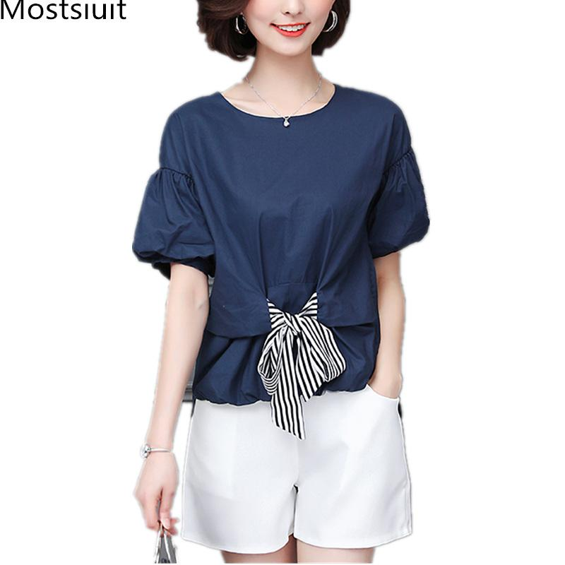 97322082817da 2019 Summer Blue Plus Size Two Piece Sets Women Short Sleeve Bow Tops And  Shorts Suits Casual Office Elegant Korean Women s Sets
