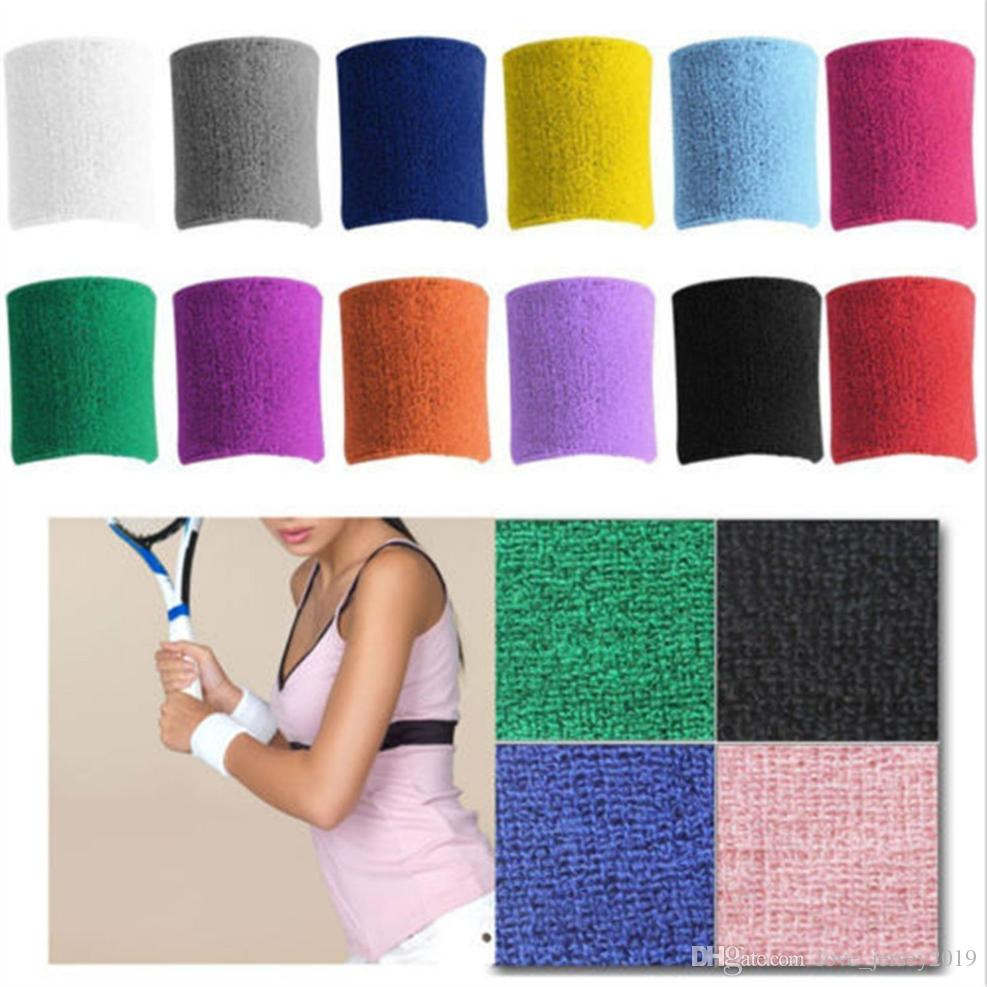 2Pcs/lot Sports Wristband Brace Wrap Bandage Gym Running Sport Sweat Band Safety Wrist Support Badminton Terry Cloth Cotton #72763