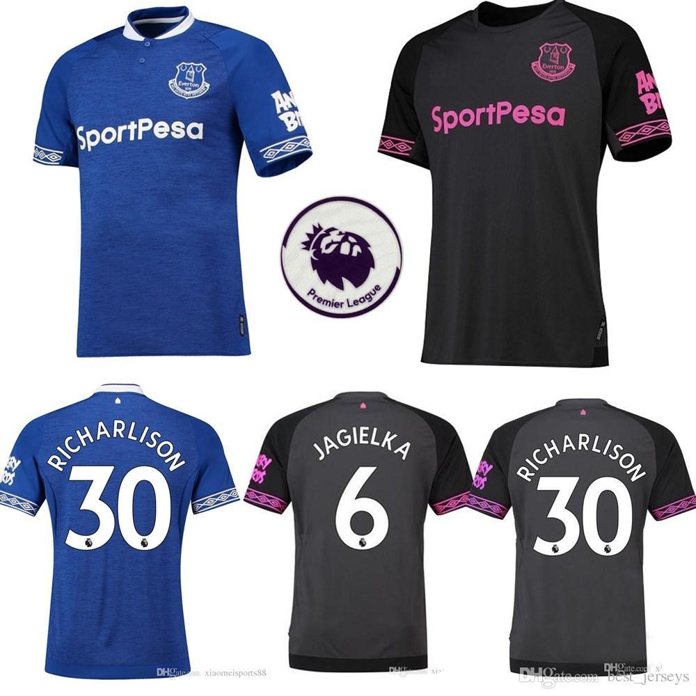 new products 1bb94 6096b 2018 2019 FC Everton Jersey Men Soccer 3 BAINES 6 JAGIELKA 11 WALCOTT 14  CENK TOSUN GUEYE 18 19 Football Shirt Kits