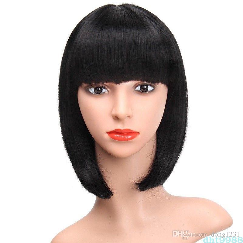 Synthetic Short Straight Bob Wig Full Black Wig With Bangs African