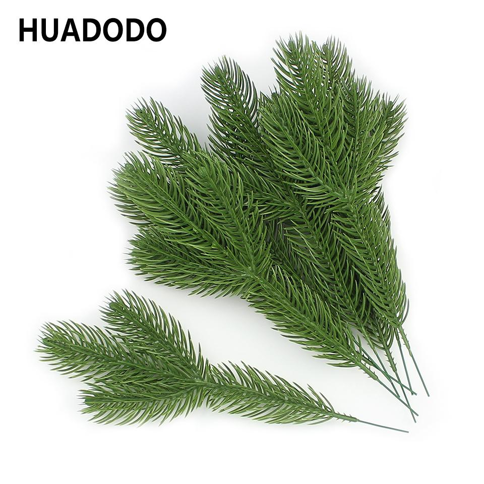 Artificial Christmas Tree Branches.Huadodo 10pieces Pine Branches Fake Plants Artificial Flowers Christmas Xmas Tree Decorations C19041701