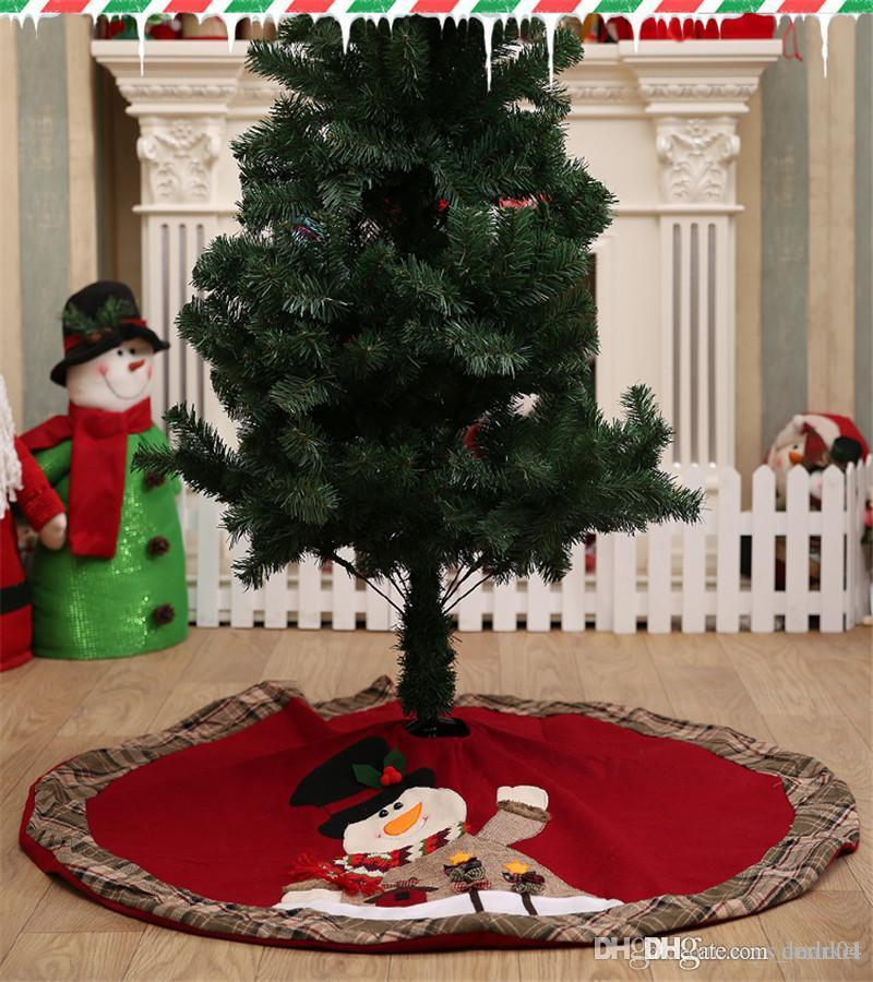 Christmas Tree Skirt Diameter 90cm Santa Claus Deer Pattern New Year Christmas Trees Decor Xmas Party Decoration