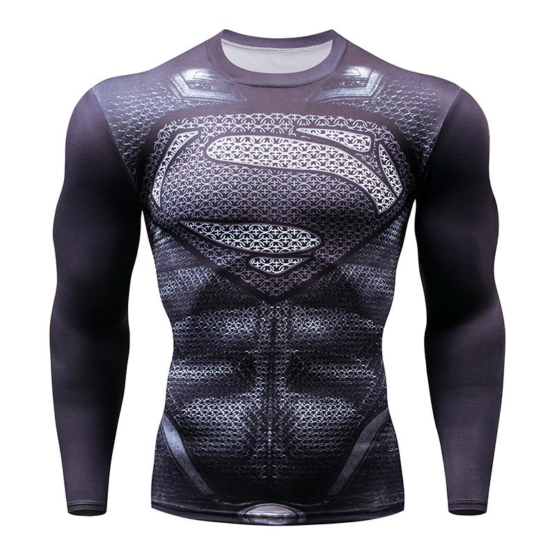 Printed Tshirts Men Compression Top Fitness T-shirts 2017 Novelty Slim Summer Tight Tee Superhero Crossfit
