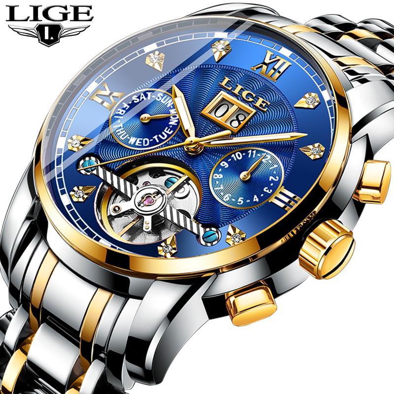 bdc1736d9a9 Compre LIGE Mens Relógios Top Marca De Luxo Relógio Mecânico Automático Dos  Homens De Negócios De Aço Completa À Prova D  Água Esporte Relógios Relogio  ...