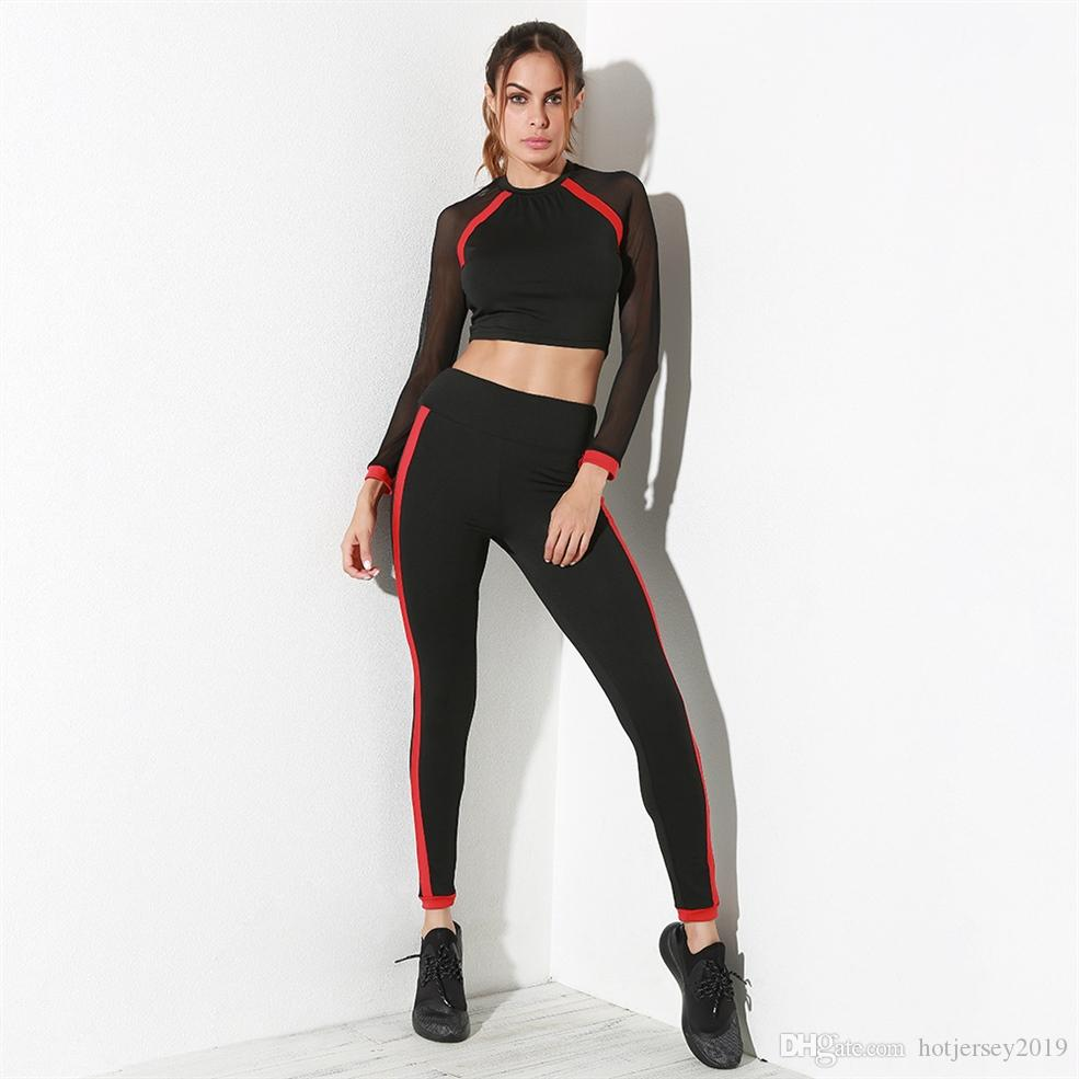 82a2e6409954c 2019 Women Tracksuits Sport Suits Black Mesh Patchwork Yoga Set Gym Fitness  Jogging Clothing Sports Bra Leggings Dropship  135171 From Hotjersey2019