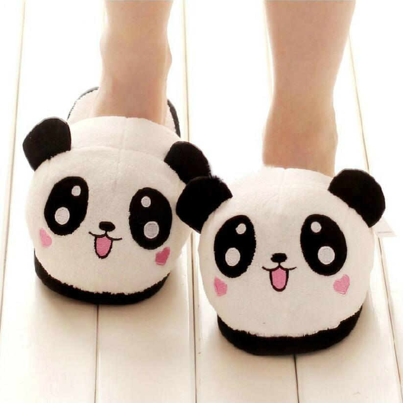 b7f9d92325919 Dropshipping Winter Indoor Panda Slippers Flat Furry Home Cartoon Women  Emoji Plush Slippers Unisex Couple Animal Warm Non Slip Hiking Boots Knee  High Boots ...