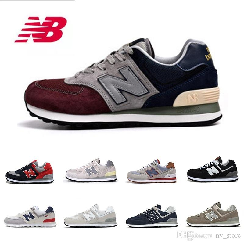 sale retailer d67fb 30b73 New Balance NB 574 Shoes Designer Mens Casual shoes for men triple black  white pink Wine red womens men sports sneakers trainers Breathable vintage  ...