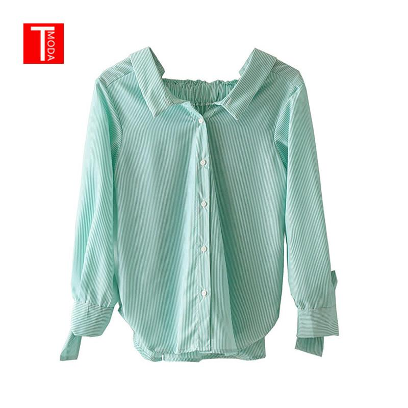 ead2982024 2019 Vintage Stylish Striped Tops Women Blouse 2019 Fashion Lapel Collar  Back Elastic Pleated Ladies Green Shirts Casual Blusas Mujer From Edward03,  ...