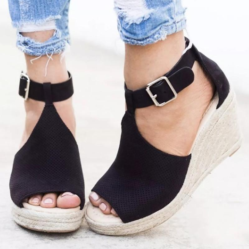 10797f25166 Summer Women S Sandals Size Large 4 10.5 High Heel Sandals Female Leopard  Buckle Fashion Open Toe Fashion Wedge Sandals Dansko Sandals Tall Gladiator  ...