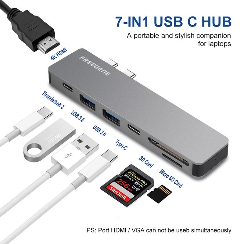 Freegene USB C HUB Thunderbolt 3 Type C Adapter USB-C with 4K HDMI PD 2 USB  3 0 Micro SD TF Card Reader for Macbook Pro 13 15