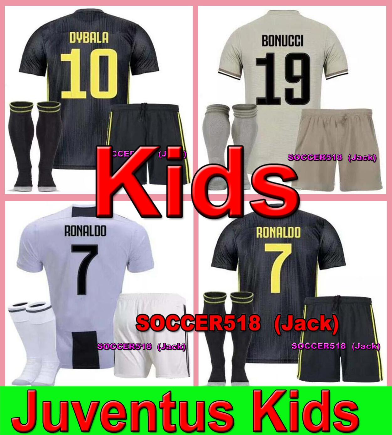 newest 27357 ef3c2 2019 kids kit juventus RONALDO #7 soccer jerseys DYBALA with shorts and  socks Maillots de football kids kit BERNARDESCHI camiseta de PJANIC