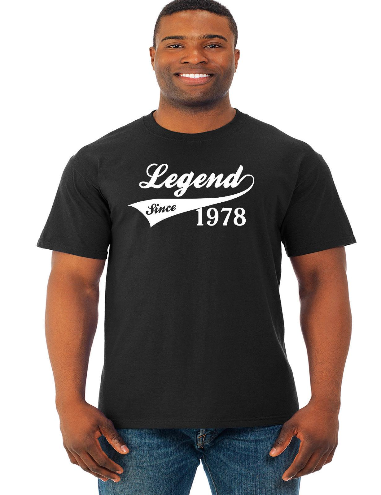 Birthday Presents For Dad 40th Gifts Mens Legend Since 1978 Funny Tops Hip Hop Style Short Sleeve Leisure Silly T Shirt Make Your Own Tee