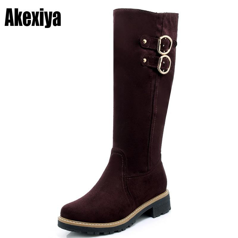 c32898e0e4ea 2019 Big Size 43 Knee High Boots Women Winter Boots Female Snow Boots Long  Zipper Boot Faux Suede Booties Botas Feminina Womens Ankle Boots Leather  Boots ...