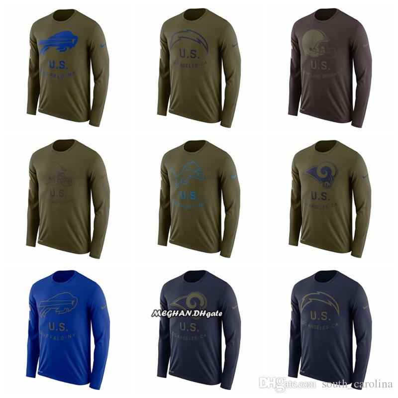 5f45369a Men Women Youth Buffalo Bills Browns Chargers Rams Detroit Lions Cardinals  Salute to Service Sideline Legend Performance Long Sleeve T-Shirt