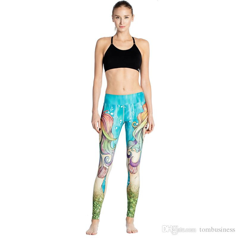 80b20ddda0587 2019 Woman Yoga Leggings Beauty Mermaid 3D Graphic Full Printed Workout  Yoga Wear Pants Lady Runner Jeggings Girls Casual Pencil Fit Yyoga0024 From  ...