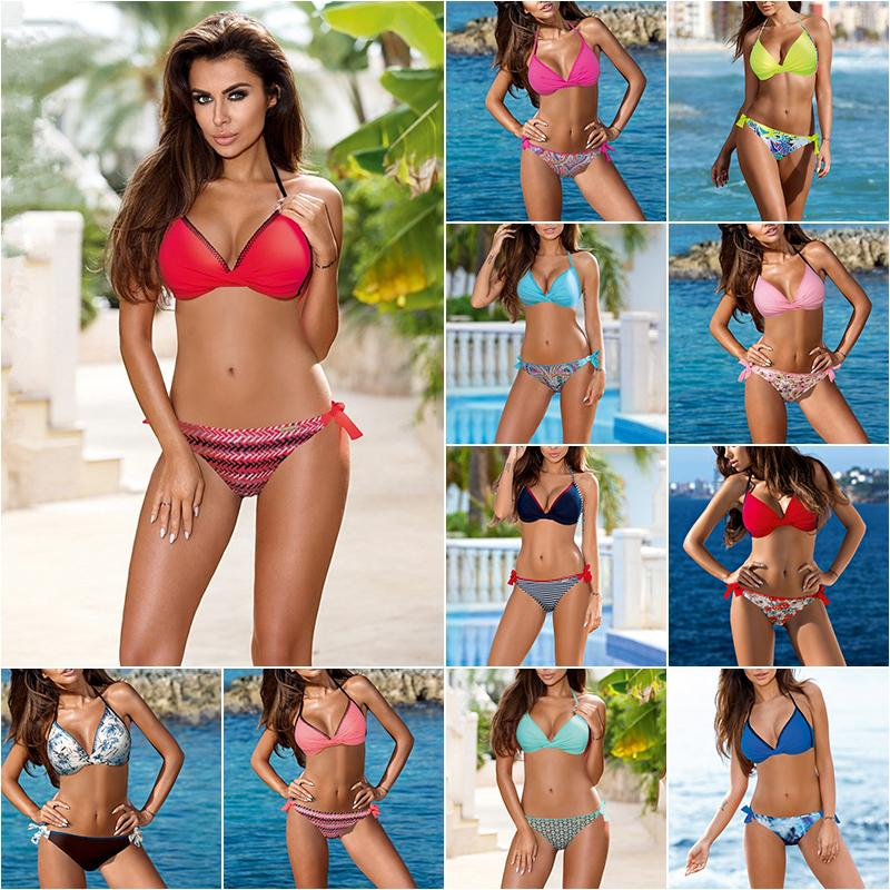 9f1d76d09a518 New Sexy Twist Knot Bikini Women Swimsuit Solid Print Bathing Suit S ...