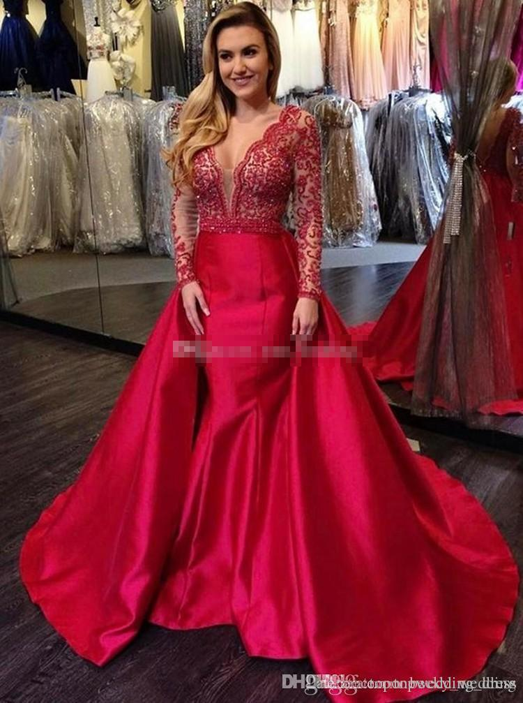 9f2e2ddb897 Long Sleeves Mermaid Red Prom Dresses V Neck Appliques Beading Satin Floor  Length Backless Plus Size Evening Dresses Pageant Party Dress Online Prom  Dress ...