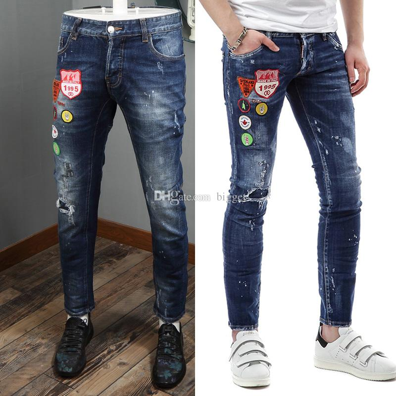 fb5f4fae688 2019 Skinny Jeans Men Luxury Design Cool Guy Patchwork Ripped Bleach Wash  Painted Effect Cowboy Trousers Denim Pants From Bigget