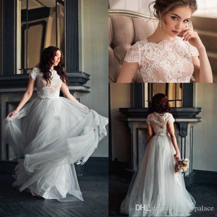 093b536508 Discount Best Sale A Line Two Pieces Wedding Dresses Floor Length Grey  Tulle White Lace Top Short Sleeve Beach Wedding Gowns Bridal Dresses A Line  Dresses ...