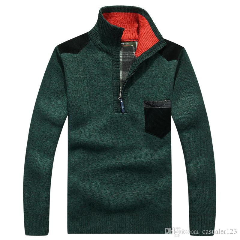 df06b39b8 Compre 2019 Otoño Nuevo Hombres Suéter A Rayas Jerseys Hombre Invierno Gruesos  Suéteres Cuello Alto Abrigo Slim Fit De Punto Jersey 3XL De Punto Masculino  A ...